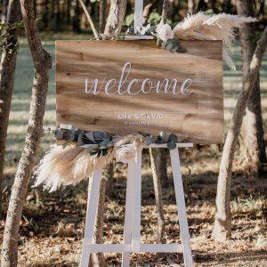 Cartell de fusta casament